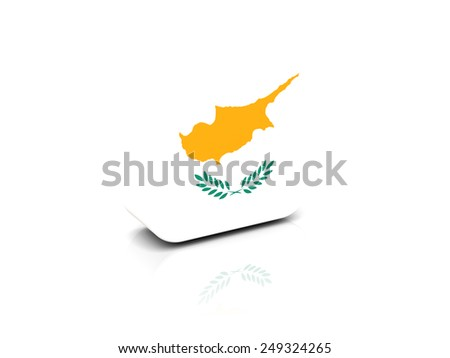 Square icon with flag of cyprus with reflection - stock photo