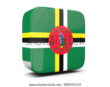 Square icon with flag of dominica square isolated on white. 3D illustration