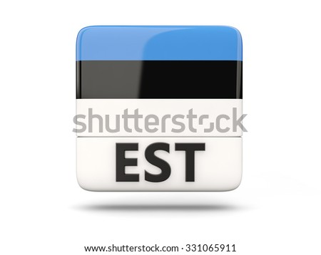 Square icon with flag of estonia and ISO code - stock photo