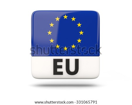 Square icon with flag of european union and ISO code - stock photo