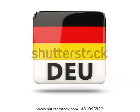 Square icon with flag of germany and ISO code - stock photo