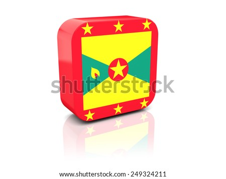 Square icon with flag of grenada with reflection - stock photo