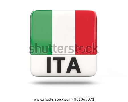 Square icon with flag of italy and ISO code - stock photo