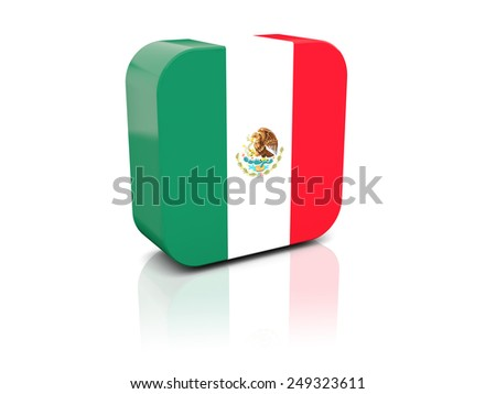 Square icon with flag of mexico with reflection - stock photo