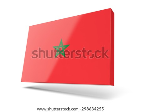 Square icon with flag of morocco isolated on white - stock photo