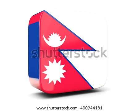 Square icon with flag of nepal square isolated on white. 3D illustration - stock photo