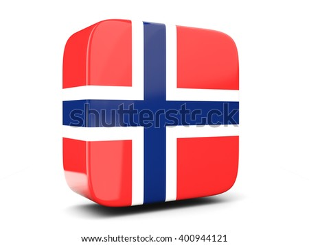 Square icon with flag of norway square isolated on white. 3D illustration - stock photo