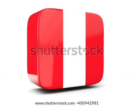Square icon with flag of peru square isolated on white. 3D illustration - stock photo