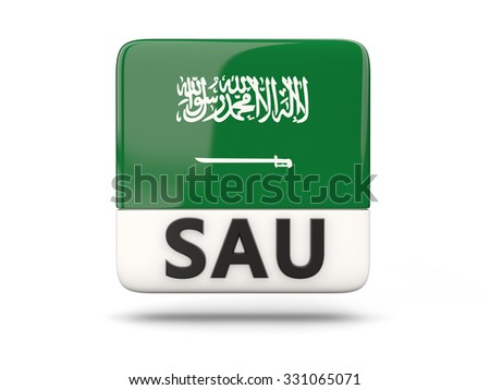 Square icon with flag of saudi arabia and ISO code