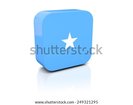 Square icon with flag of somalia with reflection - stock photo