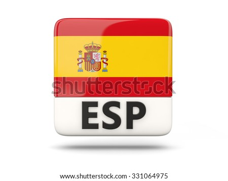 Square icon with flag of spain and ISO code - stock photo
