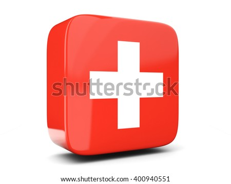 Square icon with flag of switzerland square isolated on white. 3D illustration