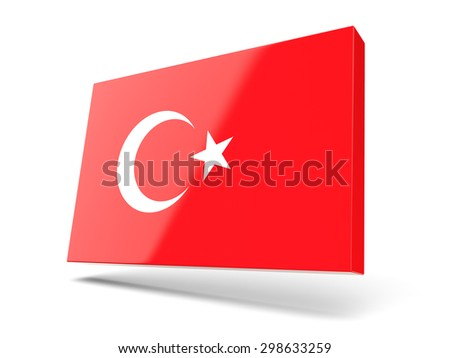 Square icon with flag of turkey isolated on white - stock photo