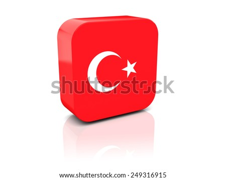 Square icon with flag of turkey with reflection - stock photo