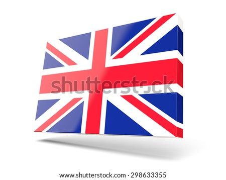 Square icon with flag of united kingdom isolated on white - stock photo