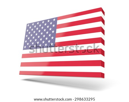 Square icon with flag of united states of america isolated on white - stock photo
