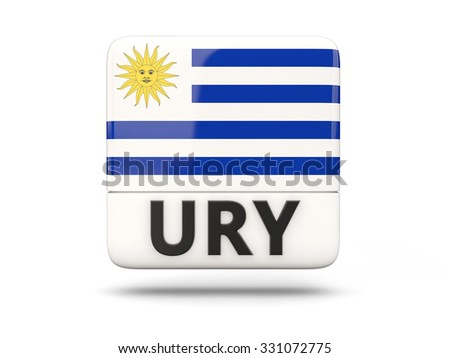 Square icon with flag of uruguay and ISO code - stock photo