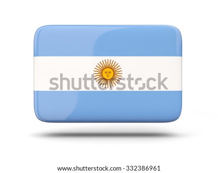 Square icon with shadow and flag of argentina - stock photo