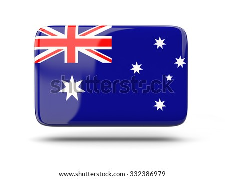 Square icon with shadow and flag of australia - stock photo