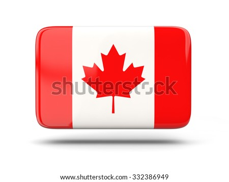 Square icon with shadow and flag of canada - stock photo