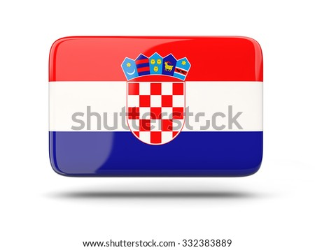 Square icon with shadow and flag of croatia - stock photo