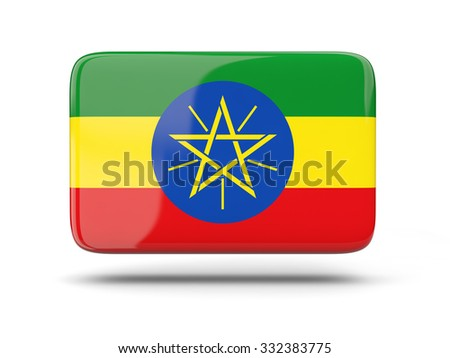 Square icon with shadow and flag of ethiopia