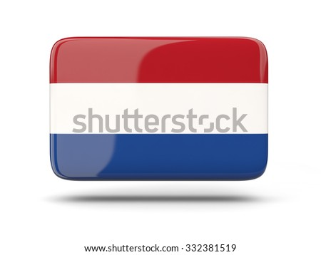 Square icon with shadow and flag of netherlands - stock photo