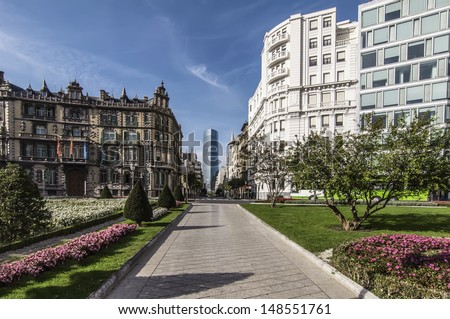 Square in Bilbao on a blue day - stock photo