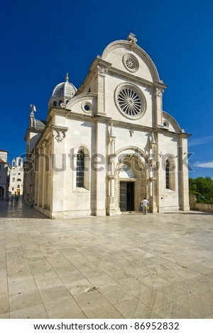 Square in front of the St.James cathedral in Sibenik, listed in the UNESCO world heritage, built in medival entirely of stone and marble - stock photo
