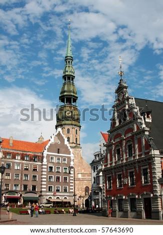 square in riga, capital of latvia - stock photo