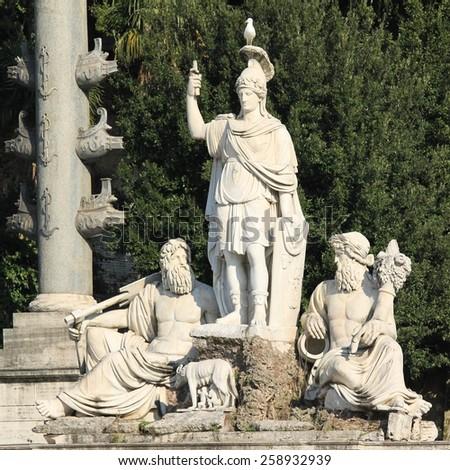 Square in Rome, Italy - Piazza del Popolo - stock photo