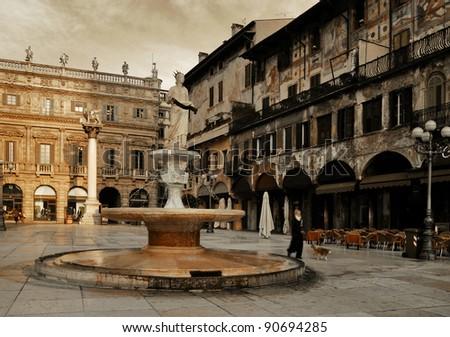 Square in Verona. Italy - stock photo