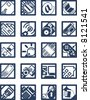 Square Internet Computing Icons - stock photo