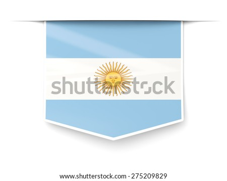Square label with flag of argentina isolated on white - stock photo