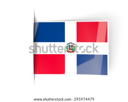 Square label with flag of dominican republic isolated on white - stock photo