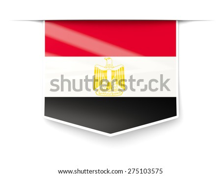 Square label with flag of egypt isolated on white - stock photo