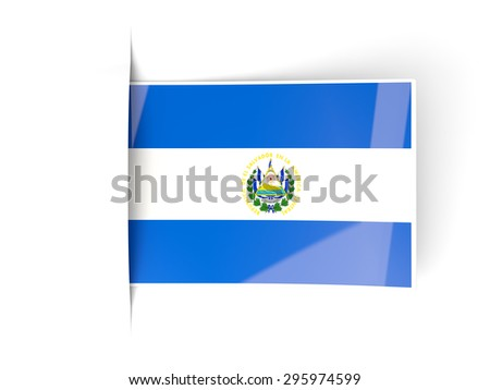 Square label with flag of el salvador isolated on white - stock photo