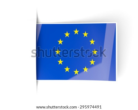 Square label with flag of european union isolated on white - stock photo