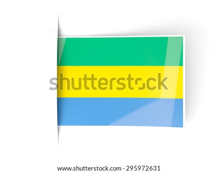 Square label with flag of gabon isolated on white - stock photo