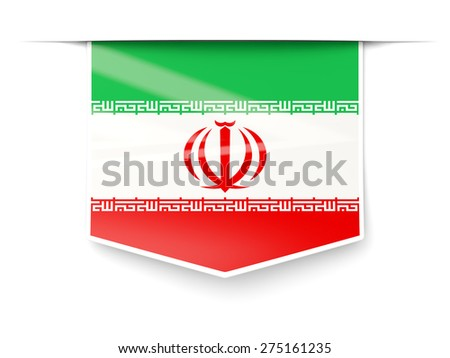 Square label with flag of iran isolated on white - stock photo