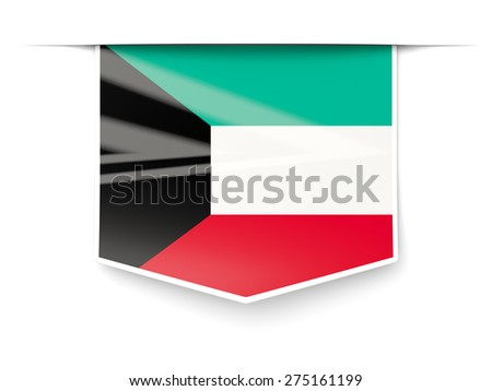 Square label with flag of kuwait isolated on white - stock photo