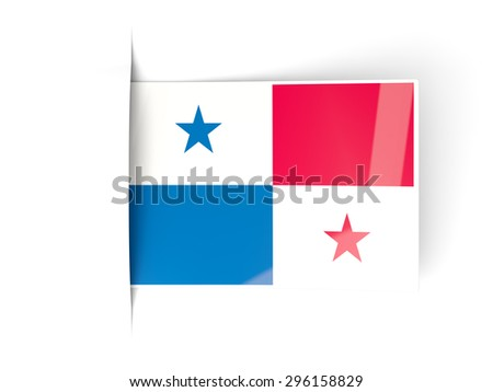 Square label with flag of panama isolated on white - stock photo