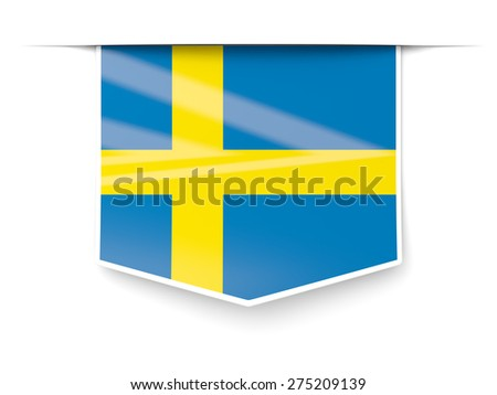 Square label with flag of sweden isolated on white - stock photo