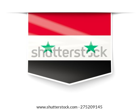 Square label with flag of syria isolated on white - stock photo