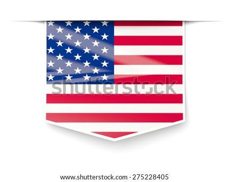 Square label with flag of united states of america isolated on white - stock photo