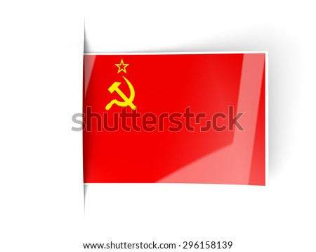 Square label with flag of ussr isolated on white - stock photo