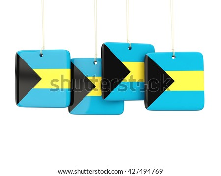 Square labels with flag of bahamas. 3D illustration - stock photo