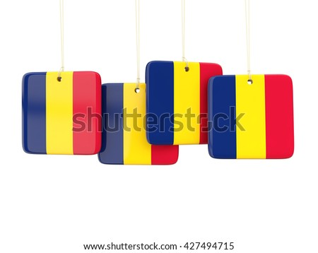 Square labels with flag of chad. 3D illustration - stock photo
