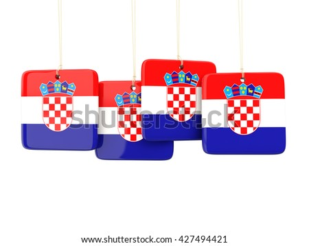 Square labels with flag of croatia. 3D illustration - stock photo