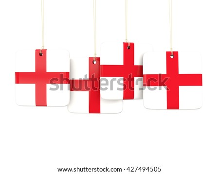 Square labels with flag of england. 3D illustration - stock photo